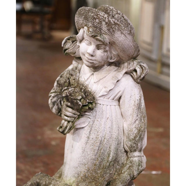 19th Century French Weathered Cast Concrete Garden Girl & Wheelbarrow Sculpture For Sale - Image 4 of 12