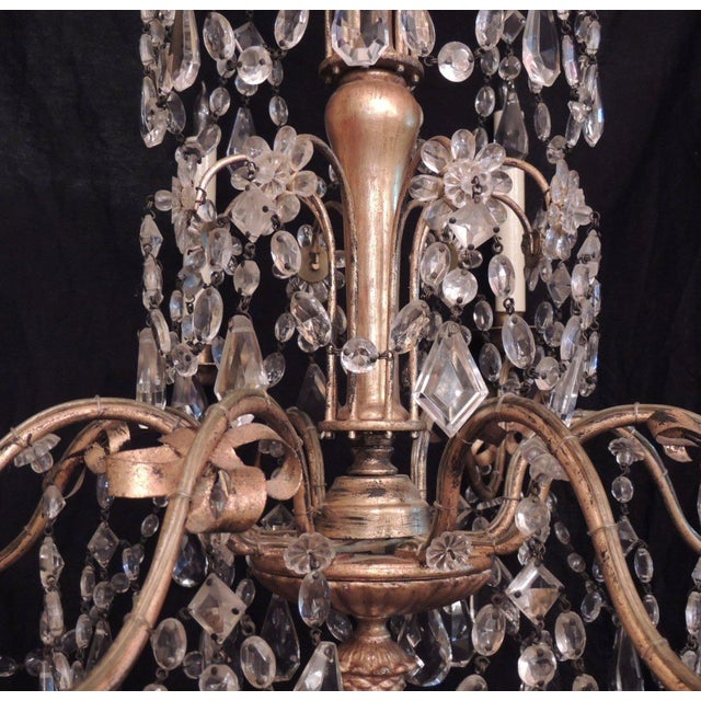 20th C French Grand Bagues Tole and Crystal Chandelier For Sale - Image 9 of 10