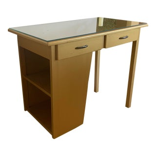 1967 Mid-Century Modern Gold Desk With Glass For Sale