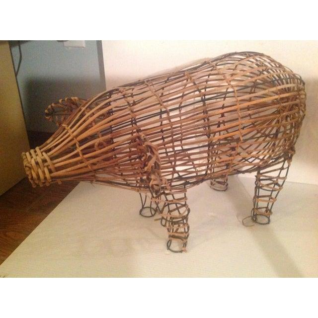 Vintage Wicker Decorative Pig Metal Art For Sale - Image 9 of 9