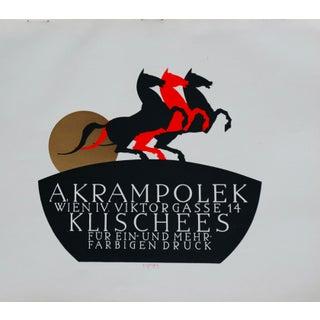 1923 Original German Poster, A. Krampolek (Rearing Horses) For Sale