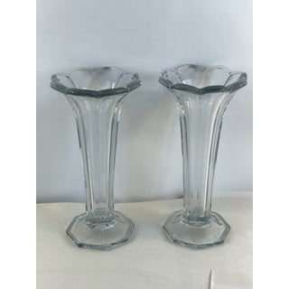 Antique Heisey Glass Colonial Panels Trumpet Vases - a Pair Preview