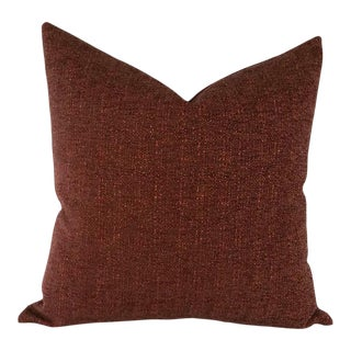 J.F. Fabrics Ajax Burgandy Textured Weave Pillow Cover For Sale