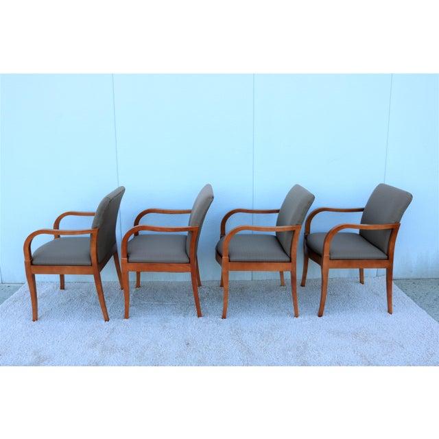 Mid-Century Modern 19th Century Scandinavian Modern Gunlocke Guest Dining Arm Chairs - Set of 4 For Sale - Image 3 of 13