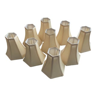 Off White Cream 6 Sided Linen and Silk Chandelier Lamp Shades- Set of 9 For Sale
