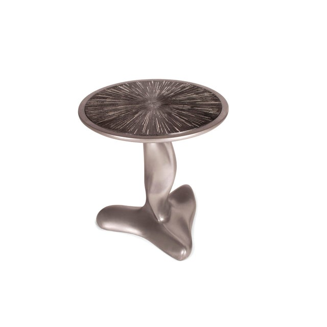 Metal Helios Side Table Silver Finish With Silver Leaf on Lacquer on Top For Sale - Image 7 of 11