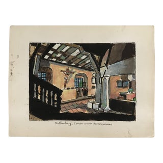 1970s Vintage Dominican Convent at Rothenburg Painting For Sale