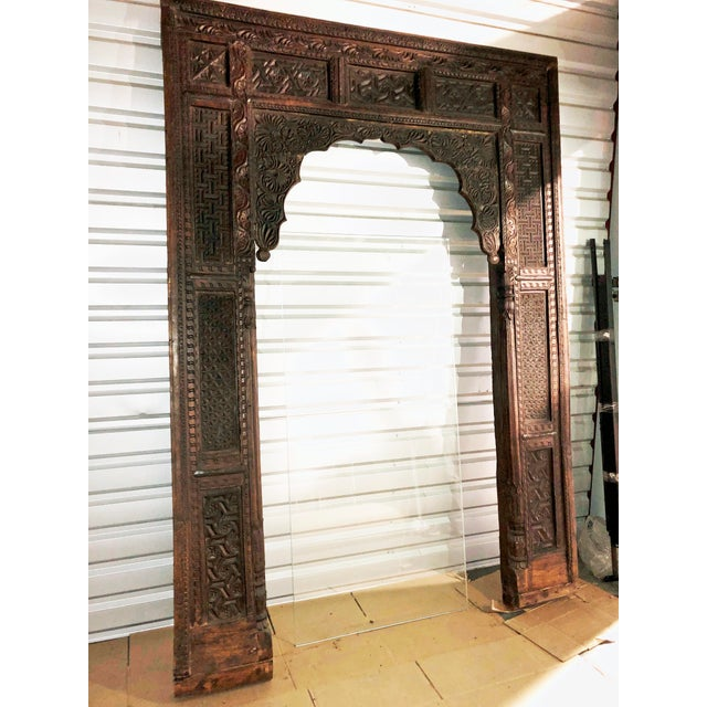 Indian Antique Indian Carved Welcome Gate Teak Arch For Sale - Image 3 of 12