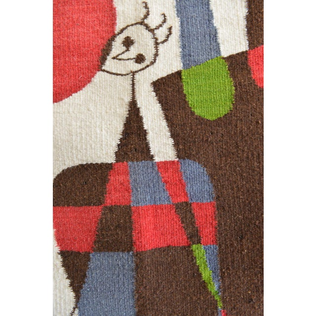 Blue 1965 Miro Style 'Upside Down Figures' Tapestry For Sale - Image 8 of 9