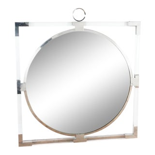 Modern Chrome and Lucite Wall Mirror For Sale