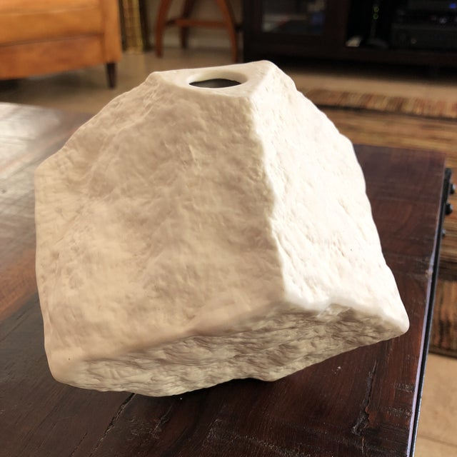 Global Views Modern Organic Abstract Matte White Stone Finish Vase For Sale - Image 4 of 12