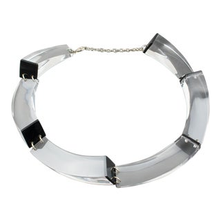 Italian Designer Studio Sculptural Clear and Black Lucite Geometric Necklace For Sale