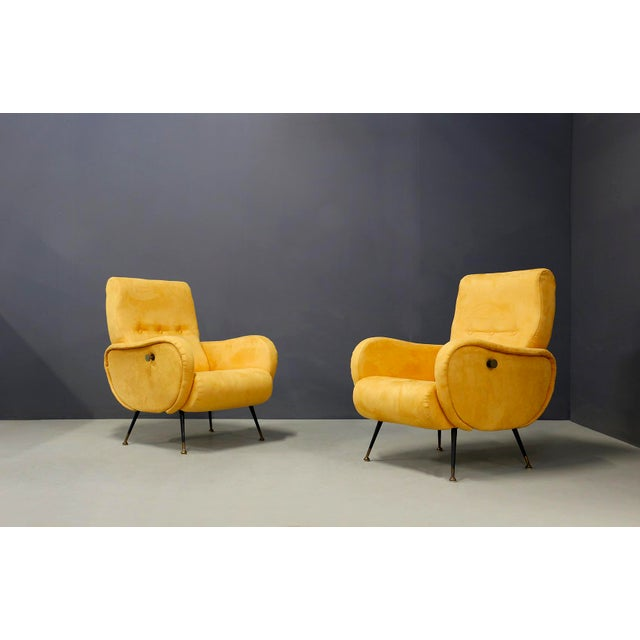 Pair of MidCentury Reclining Armchairs in Yellow Velvet in Zanuso Style, 1950s For Sale - Image 9 of 9