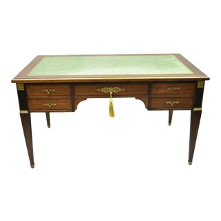 French Directoire Neoclassical Green Leather Top Mahogany Bureau Plat Desk For Sale