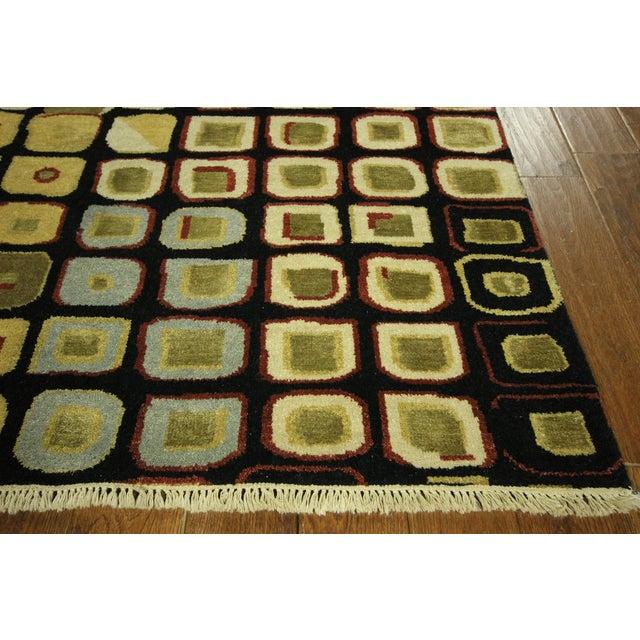 New Black Modern Wool & Silk Ikat Rug - 8'x10' - Image 7 of 10
