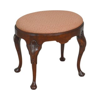 Hickory Chair Solid Mahogany Oval Queen Anne Stool For Sale