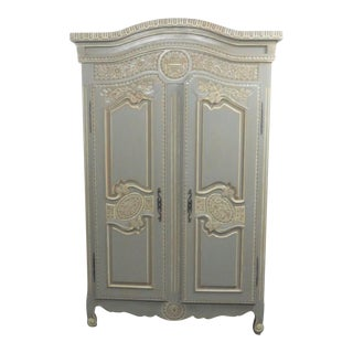 French Style Paint Decorated 2-Door Wardrobe