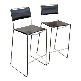 Italian Chrome & Leather Counter Stools - a Pair For Sale