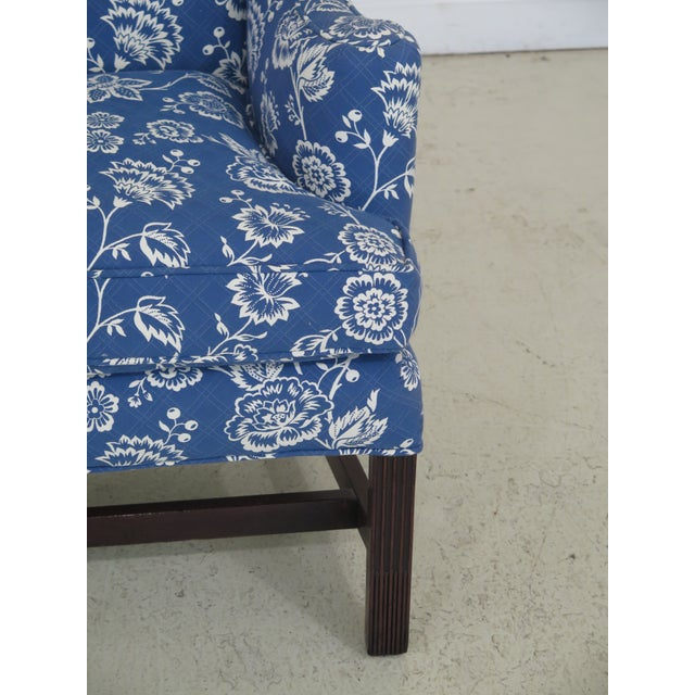 Kittinger Cw-12 Colonial Williamsburg Blue Upholstered Mahogany Wing Chair For Sale - Image 10 of 13