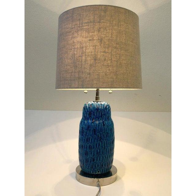 Italian Italian Ceramic and Nickel Owl Table Lamp by Aldo Londi for Bitossi For Sale - Image 3 of 11