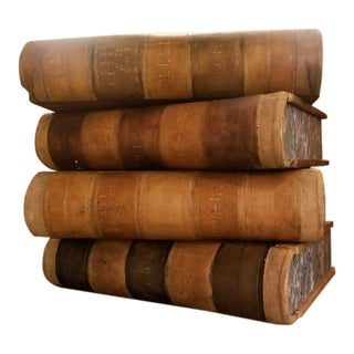 Oversized Leather Decorative Faux Books - Set of 4 For Sale