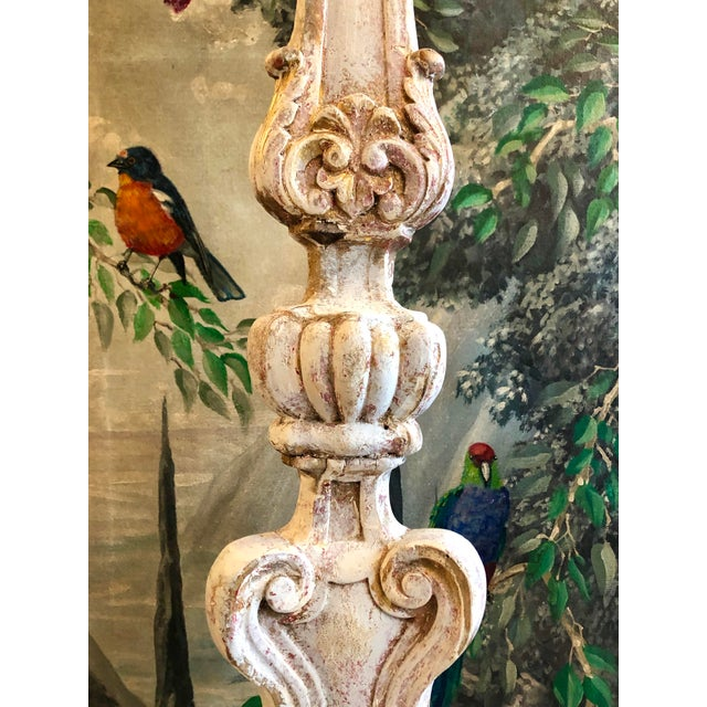 18th Century Italian Carved & Painted Wood Floor Lamps - a Pair For Sale In West Palm - Image 6 of 13