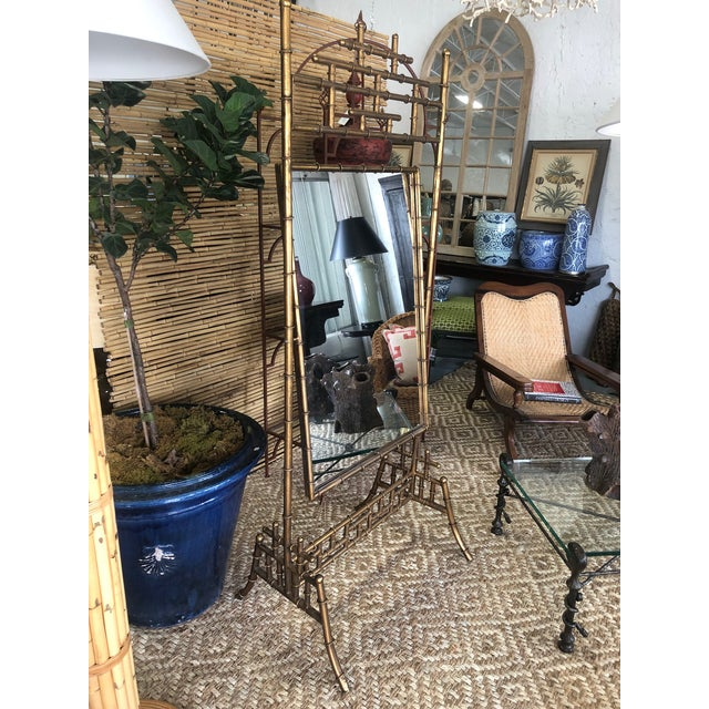 Gold Faux Bamboo Floor Mirror For Sale - Image 9 of 10