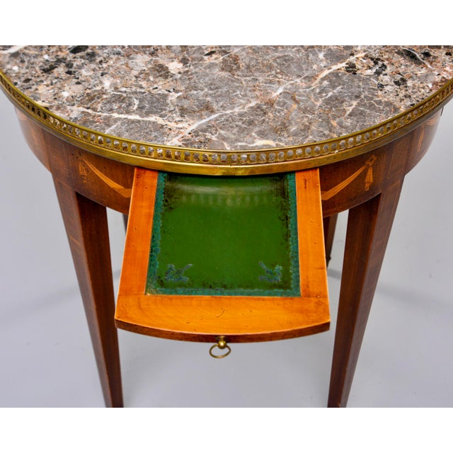 French Oak Marble Top Gueridon With Marquetry and Brass Gallery For Sale - Image 11 of 13