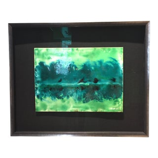 "Contemporary Abstract Framed Enamel Painting on Copper Untitled ""XIV"" by Ming Chiao Kuo For Sale"