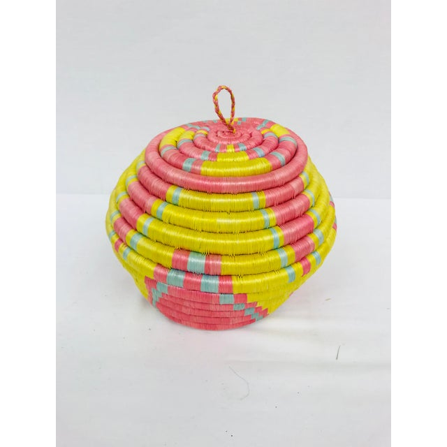 Pink/Yellow & Blue/Pink African Artisan Baskets - A Pair - Image 8 of 11