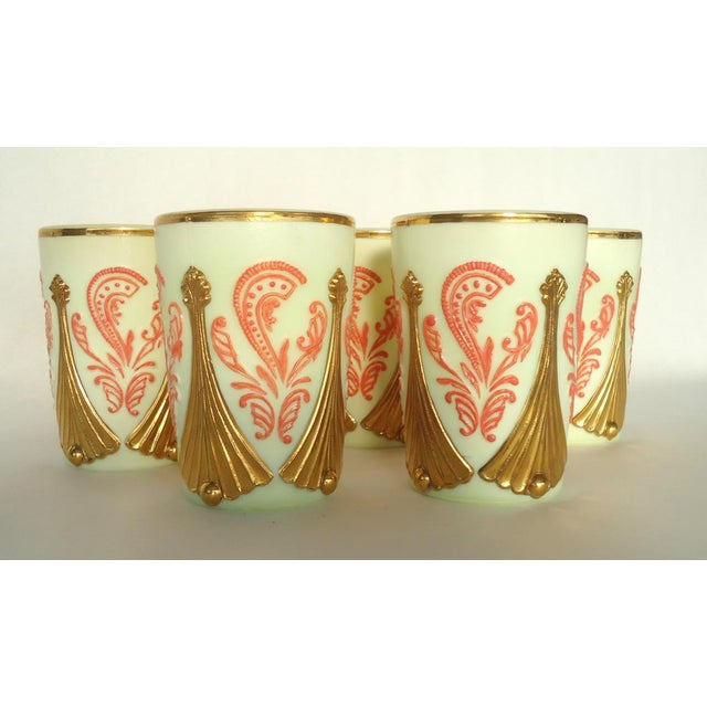 Vintage Gold & Coral Custard Glass Cups - Set of 5 - Image 2 of 4