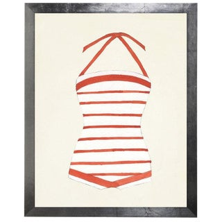 """Orange and White Striped Bathing Suit Watercolor Print - 15"""" X 19"""" For Sale"""