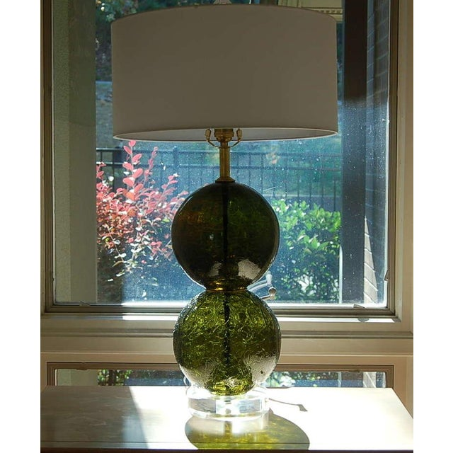 Gold Vintage Murano Craquele Glass Table Lamps Green For Sale - Image 8 of 9