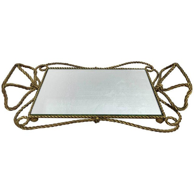 Metal Italian Gilt Rope Motif Plateau or Vanity Tray For Sale - Image 7 of 7