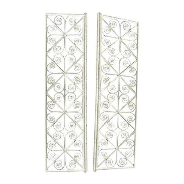 Bamboo Vintage Peacock Curl Bamboo Swinging Doors / Entryway or Closet Doors - a Pair For Sale - Image 7 of 8