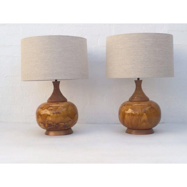 White Large Drip Glazed Ceramic Lamps - A Pair For Sale - Image 8 of 8