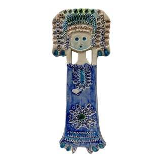 "Alvino Bagni for Raymor ""Standing Figure"" Glazed Ceramic Wall Hanging Circa 1950s For Sale"