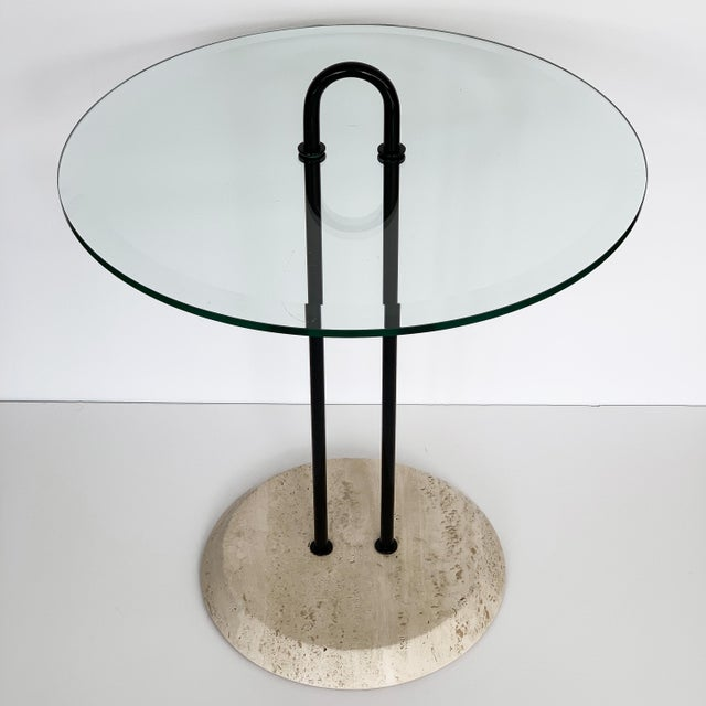 Vico Magistretti Travertine and Glass Side Table for Cattelan Italia For Sale In Chicago - Image 6 of 13