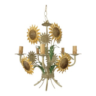 Italian Sunflower Tole Breakfast Chandelier For Sale