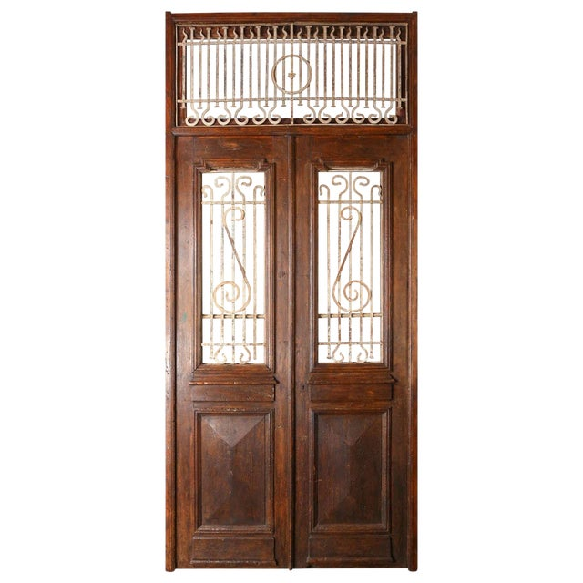 Set of French Painted Double Entry Door With Iron Insert For Sale