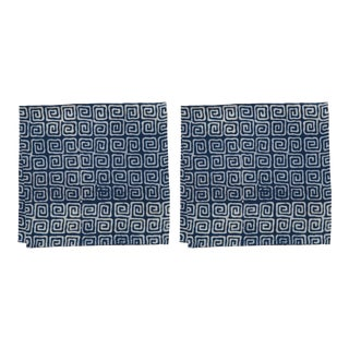 Countryside Maze Napkins, Indigo - A Pair For Sale