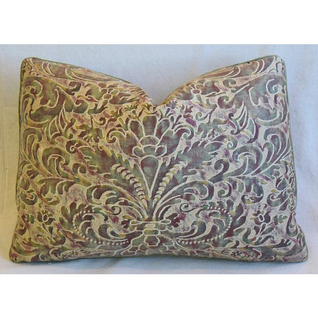 """Green Italian Mariano Fortuny Caravaggio Feather/Down Pillow 22"""" X 16"""" For Sale - Image 8 of 8"""