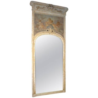 Monumental Antique, French Parcel Paint Trumeau Mirror For Sale