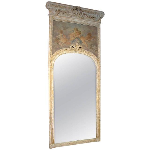 Monumental Antique, French Parcel Paint Trumeau Mirror For Sale