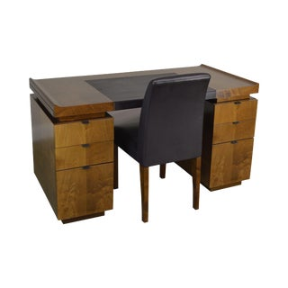 French Art Deco Style Pedestal Desk With Chair For Sale