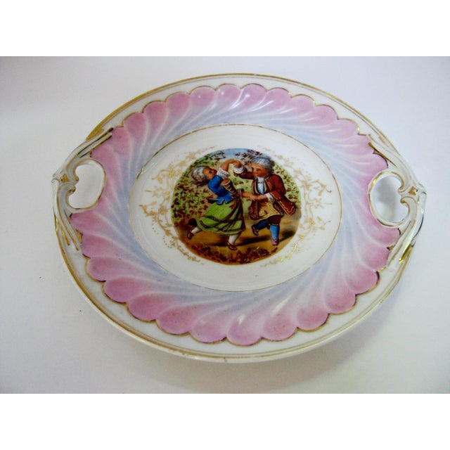 Festive rare antique German hand painted cake plate of children dancing in early 18th century dress/ costumes. Beautiful...
