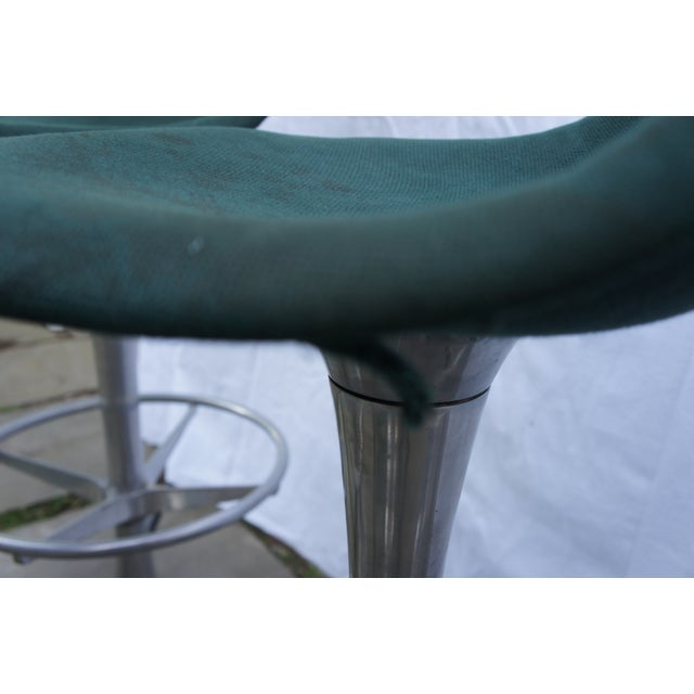 Aluminum Mid-Century Modern Green Floor Anchored Bar Stools - Set of 5 For Sale - Image 7 of 12