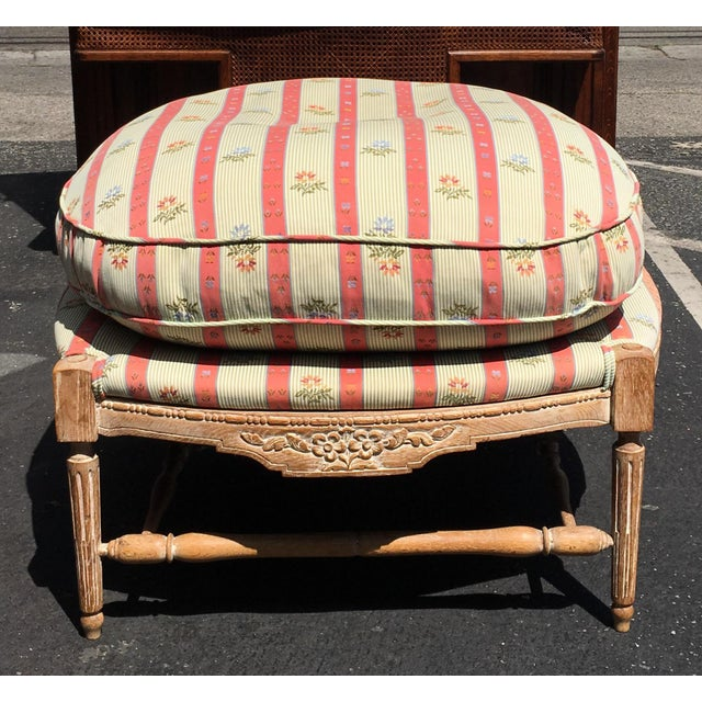 Hollywood Regency Large Regency Style Pink Striped Upholstered Ottoman For Sale - Image 3 of 6