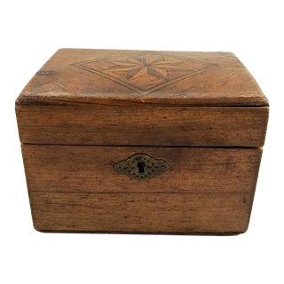 19th Century Rustic Star Inlay Tea Caddy Box