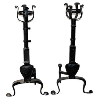 Wrought Iron Andirons- A Pair For Sale